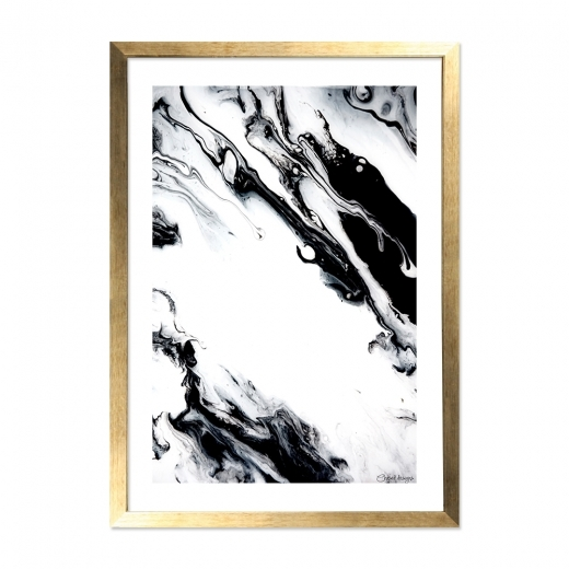 Cult Living Marble Print Framed Poster, Black and White, A2