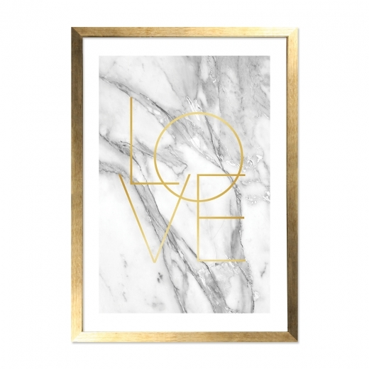 Cult Living Marble Love Typography Framed Poster, Grey and Gold, A2