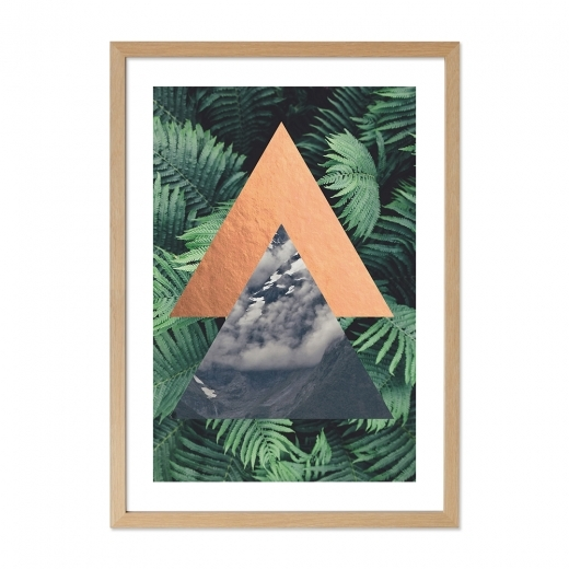 Cult Living Jungle Triangle Palm Print Framed Poster, Green, A2