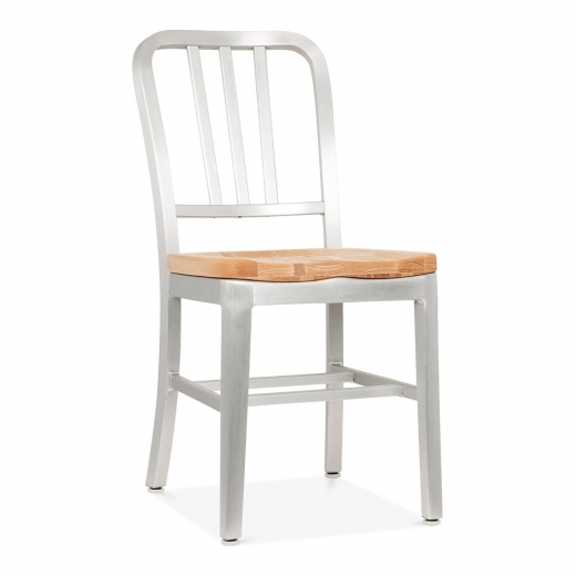 Navy Style Metal Dining Chair 1006 with Natural Wood Seat - Silver Anodized