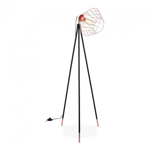 Cult Living Hamilton Caged Metal Tripod Floor Lamp, Black and Copper