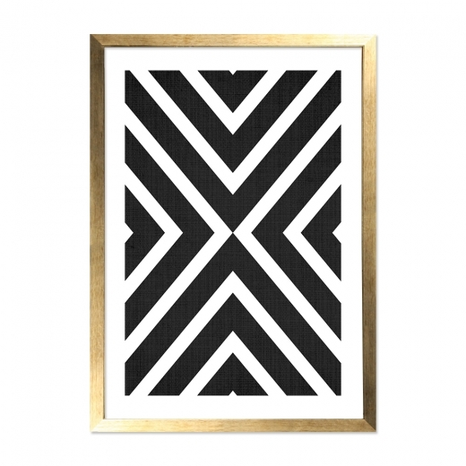 Cult Living Aztec Print Framed Poster, Black & White, A2