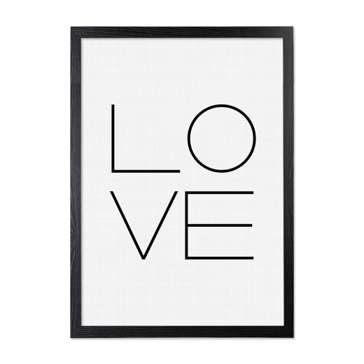 Cult Living Love Typography Framed Poster, Black & White, A2