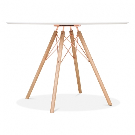Cult Design Moda CD3 Round Dining Table, Solid Oak and Metal Legs, White 110cm