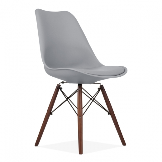 Eames Inspired DSW Style Dining Chair with Natural Wood Legs - Cool Grey - Clearance Sale