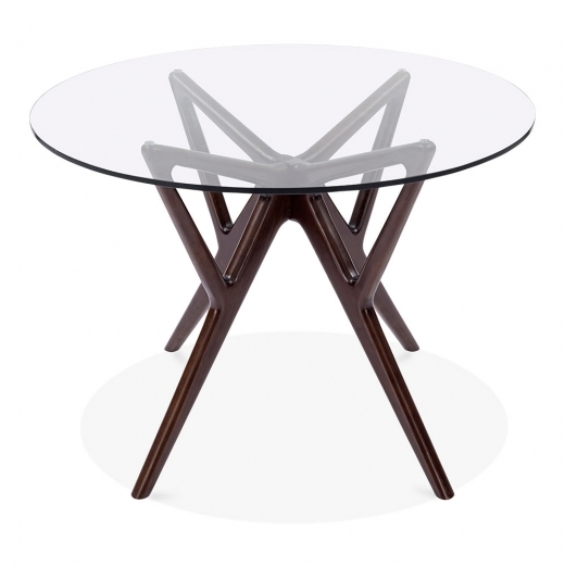 Cult Living Hawkin Glass Top Dining Table, Solid Beech Wood, Dark Brown