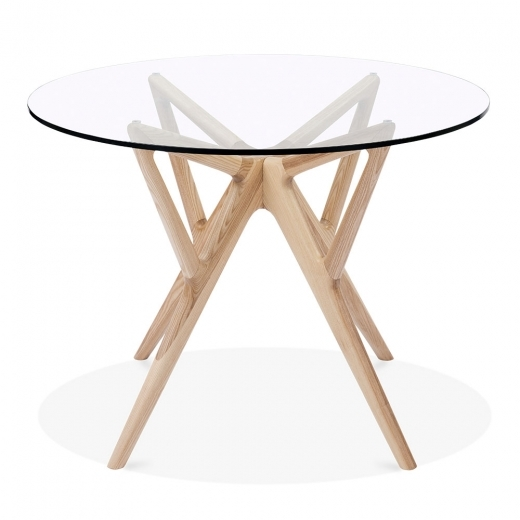 Cult Living Hawkin Glass Top Dining Table, Solid Ash Wood, Natural