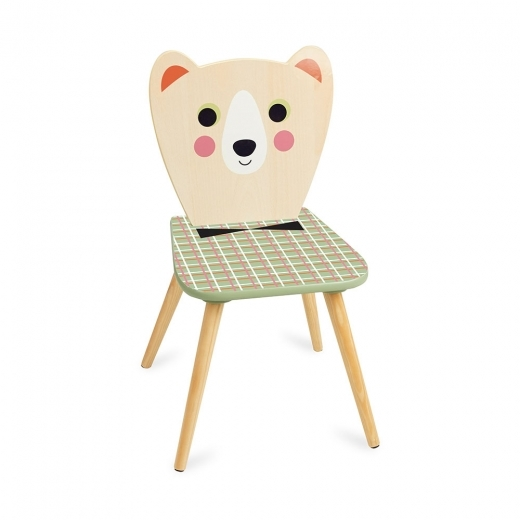 Vilac Bozo Bear Kids Wooden Chair, Natural and Green