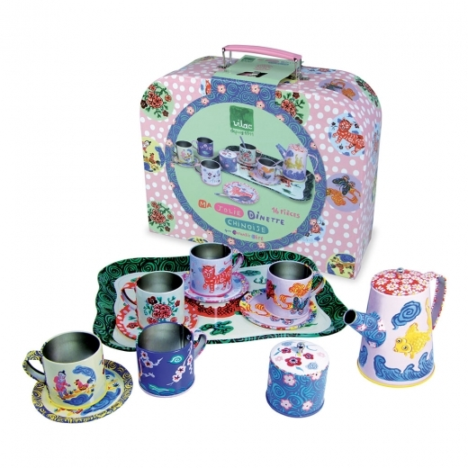 Vilac Children's 12 Piece Metal Tea Set in Carry Box, Chinese Style