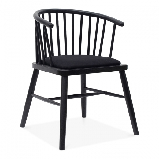 Black Dining Furniture: Black Upholstered Reuben Wooden Armchair