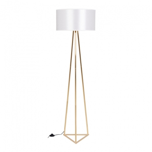Cult Living Orion Geometric Metal Floor Lamp, Gold and White