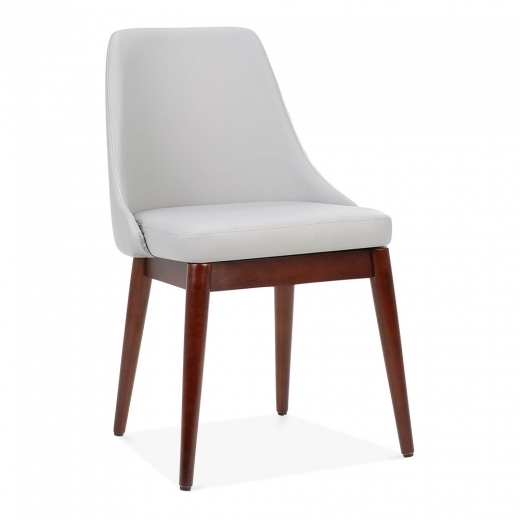 Cult Living Alexis Wooden Dining Chair, Faux Leather Upholstered, Light Grey