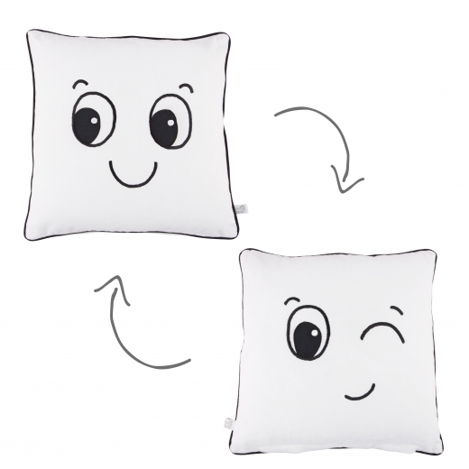 Sass & Belle Fun Faces Reversable Cotton Cushion, White