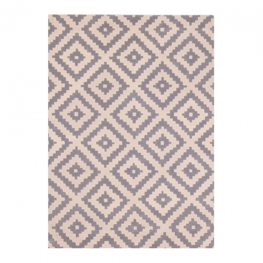 Cult Living 100% Wool Aztec Diamond Hand Tufted Rug, Grey