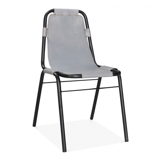 Cult Living Mercury Industrial Metal Side Chair, Genuine Leather, Grey - Clearance Sale