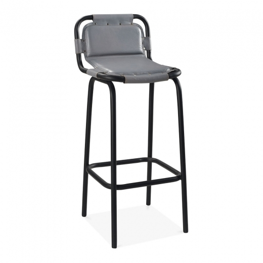 Cult Living Jupiter Industrial Metal Bar Chair, Genuine Leather, Grey