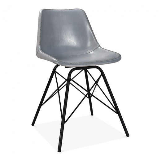 Cult Living Dexter Industrial Leather Dining Chair, Grey - Clearance Sale