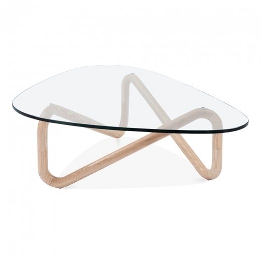 Cult Living Infinity Glass Top Coffee Table, Solid Beech Wood, Natural