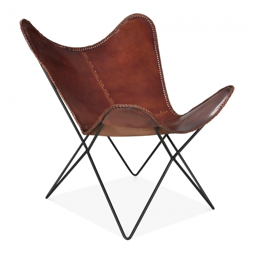 Cult Living Xanthe Industrial Butterfly Accent Chair, Genuine Leather, Brown