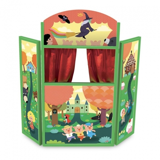 Vilac Children's Wooden Standing Puppet Theater, Fairy Tales
