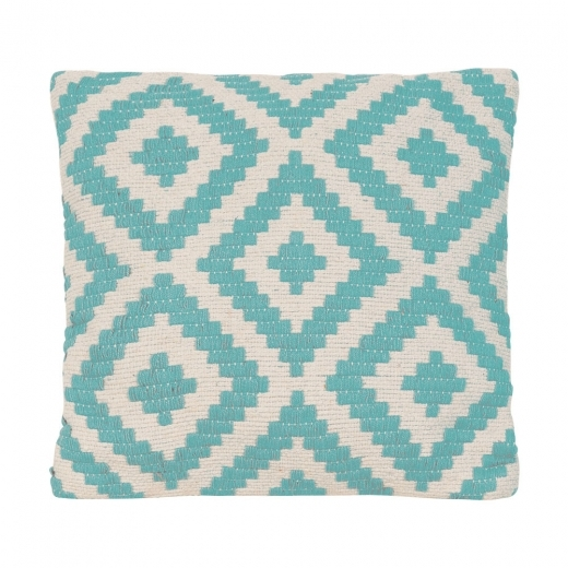 Cult Living Aztec Woven Cushion, Aqua and White