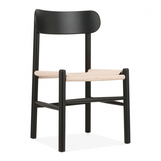 Cult Living Anders Dining Chair, Solid Beech Wood & Natural Rattan Seat, Black