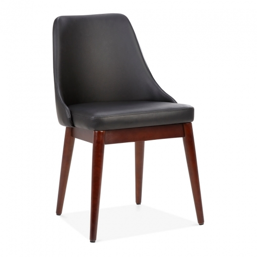 Cult Living Alexis Wooden Dining Chair, Faux Leather Upholstered, Black