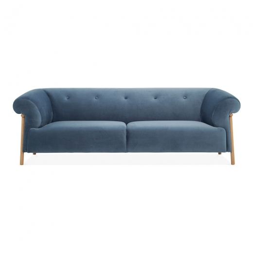 Cult Living Amelia 3 Seater Sofa, Velvet Upholstered, Blue