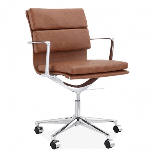 Cult Living Soft Pad Office Chair with Short Back – Coffee