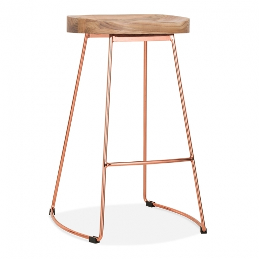 Cult Living Victoria Metal Bar Stool with Wood Seat Option - Copper 65cm