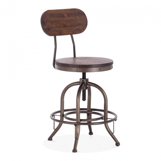 Toledo Style Trax Metal Swivel Stool with Backrest, Solid Elm Wood, Rustic