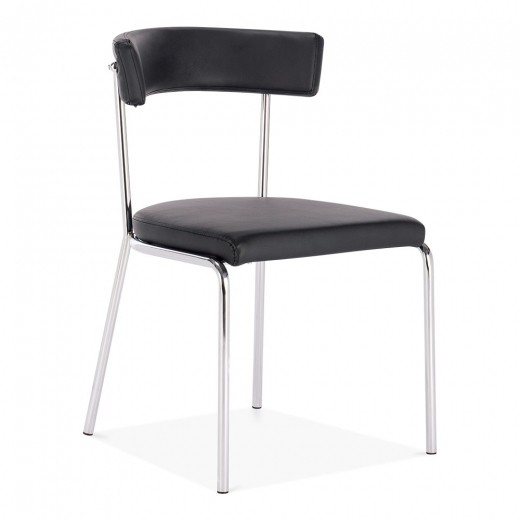 Cult Living Pinner Metal Dining Chair, Black Faux Leather Upholstered, Chrome