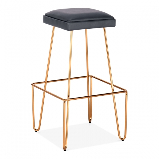 Cult Living Newton Metal Bar Stool, Black Faux Leather Seat, Brass 76cm