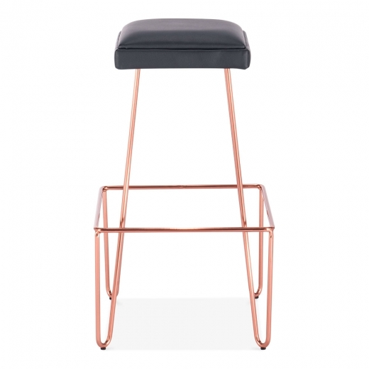 Cult Living Newton Metal Bar Stool, Black Faux Leather Upholstered, Copper 76cm
