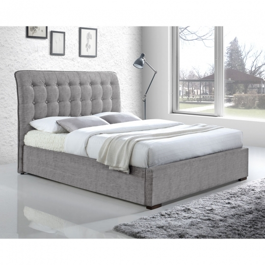 Cult Living Conan Button Back King Size Bed, Fabric Upholstered, Light Grey