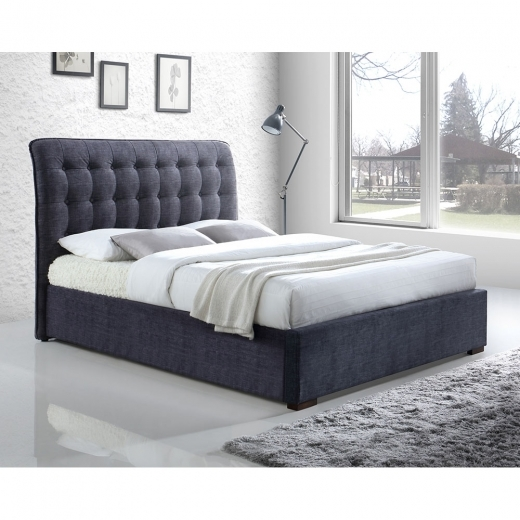 Conan Button Back King Size Bed, Fabric Upholstered, Dark Grey