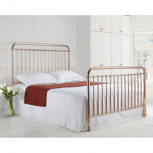Adelaide Metal Hospital Style King Size Bed, Rose Gold