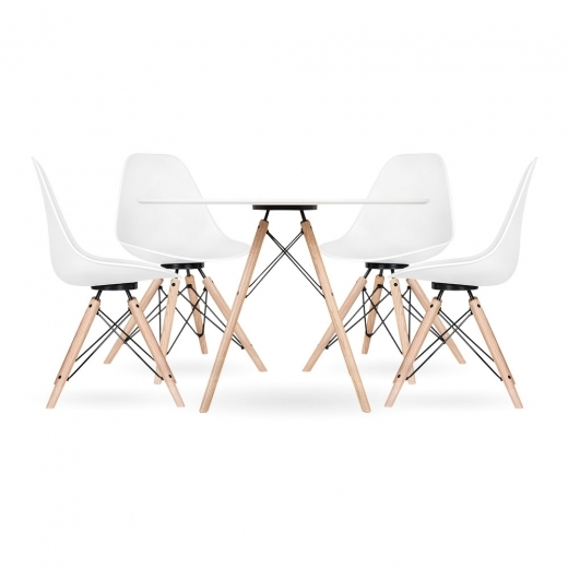 Cult Design Moda CD3 Dining Set, 1 Round Table & 4 Chairs, White 110cm