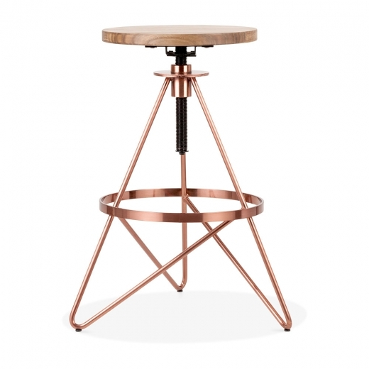 Cult Design Hendrix Metal Swivel Bar Stool, Solid Elm Wood, Copper 61-75cm
