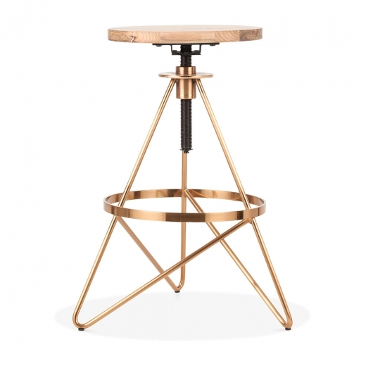 Cult Living Hendrix Metal Swivel Bar Stool, Solid Elm Wood, Brass 61-75cm - Clearance Sale
