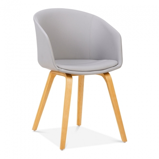 Cult Living Cohen Dining Chair, Bentwood Leg, Light Grey Faux Leather