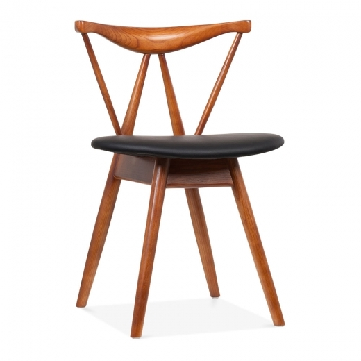 Cult Living Kite Wooden Dining Chair with Black Faux Leather Seat, Walnut Finish
