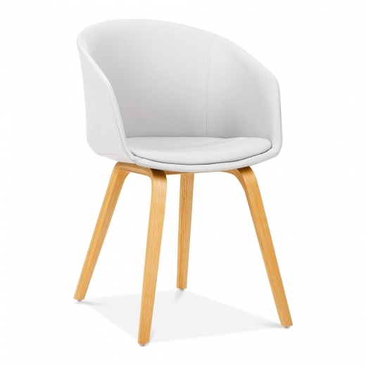 Cult Living Cohen Dining Chair, Bentwood Leg Frame, White Faux Leather