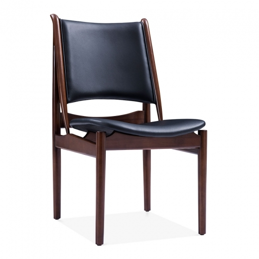 Cult Living Jonah Wooden Dining Chair, Faux Leather Seat, Black
