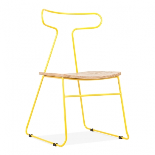 Cult Living Fluke Metal Dining Chair with Wood Seat, Yellow