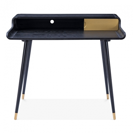 Cult Design Astrid Home Office Desk, Ash Wood, Black and Gold