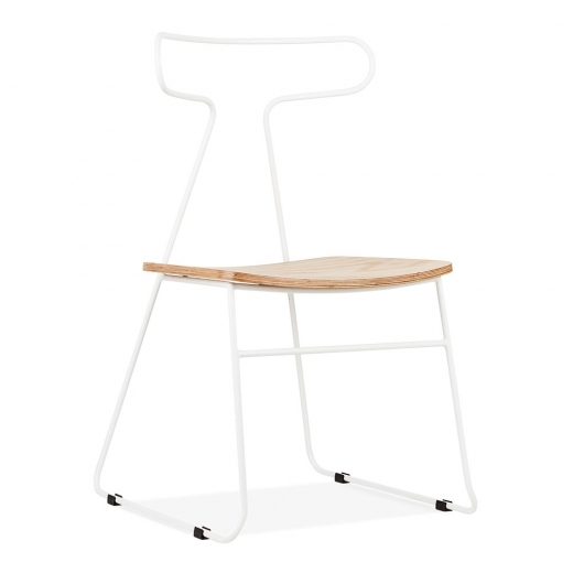 Cult Living Fluke Metal Dining Chair with Wood Seat, White - Clearance Sale