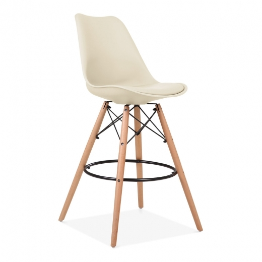Eames Inspired Soft Pad Bar Stool with Backrest, DSW Style Natural Wood Leg, Cream 65cm