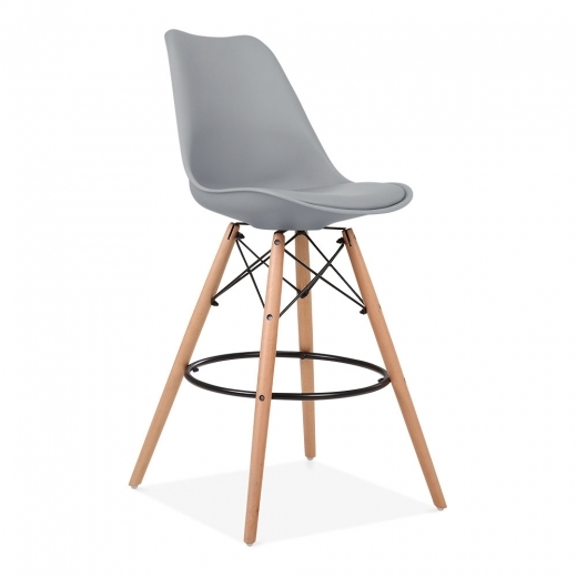Eames Inspired Soft Pad Bar Stool with Backrest, DSW Style Natural Wood Leg, Cool Grey 65cm