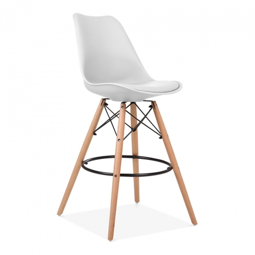 Eames Inspired Soft Pad Bar Stool with Backrest, DSW Style Natural Wood Leg, White 65cm